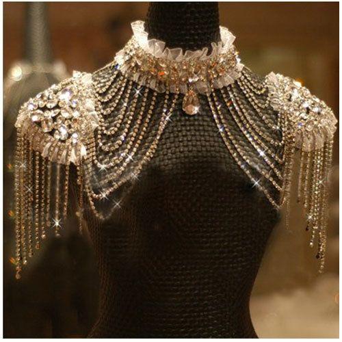 Fashion bride chain accessories rhinestone shoulder strap lace bride wedding dress necklace crystal shoulder strap