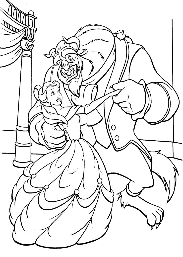 Beauty and the beast dancing coloring