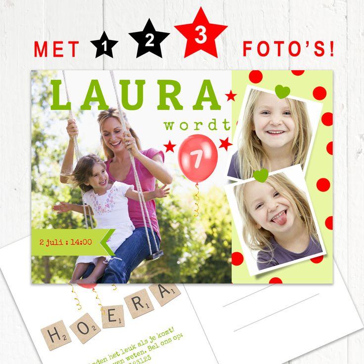 Zelf een kaartje maken met meerdere foto's is heel eenvoudig bij www.Fotokaarten.nl. Je kunt deze tips toepassen. 1. Plaats een foto op een vrolijke achtergrond. 2. Zet twee kleinere foto's er naast. 3. Laat de kleurtjes van de achtergrond terugkomen in je versiering en letters. Gezellig kaartje toch?  www.fotokaarten.nl