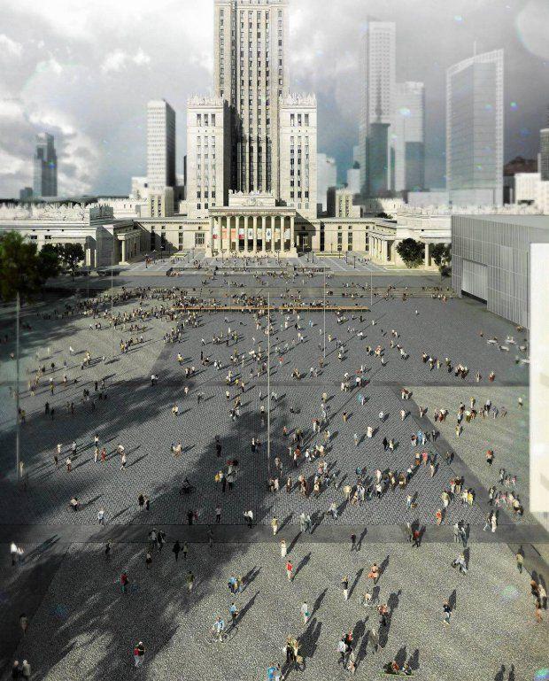Ta wizualizacja publicznego placu - poza muzeum i teatrem - wzbudziła największą dyskusję.