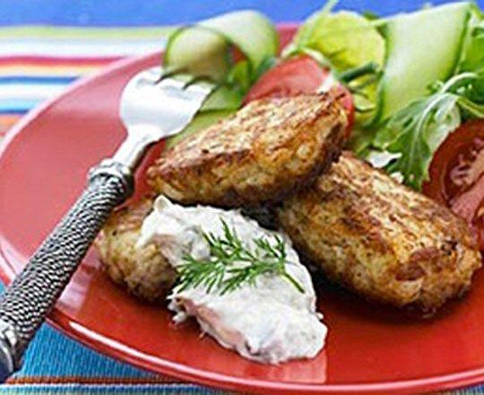 Tuna Patties with Caper Cream   PHILADELPHIA #recipes #fishrecipes