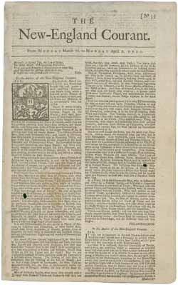 This is the first appearance of Benjamin Franklin in print, writing under the pseudonym of Silence Dogood, the outspoken widow of a minister.  This is the only surviving copy of the issue of The New-England Courant that contains Benjamin Franklin's earliest known published writing. The Courant, Boston's third newspaper, was founded by Benjamin's brother James Franklin (1697-1735) in 1721. Click the image to read the entire paper.