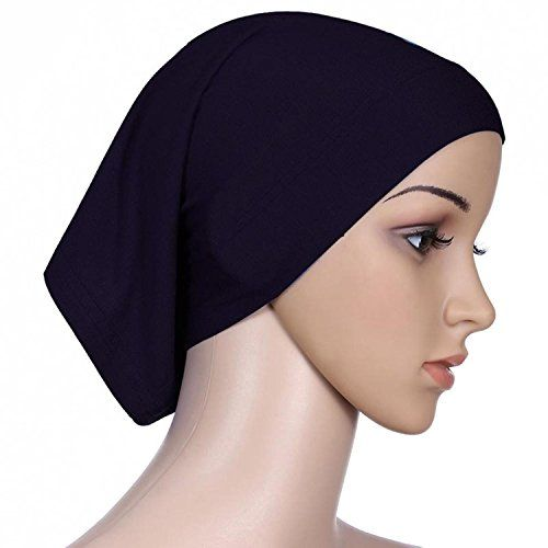 Islamic Light Cotton Solid Color Elastic Sun Tube Caps Cook Clean Head Wrap Black >>> Want additional info? Click on the image.