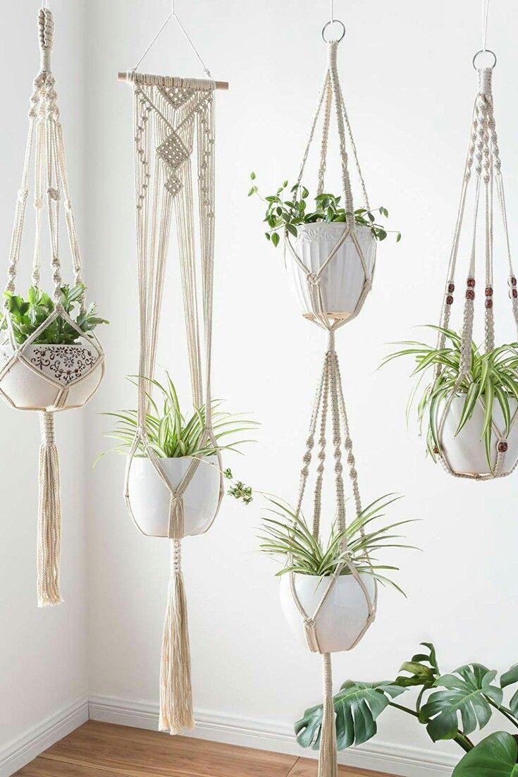 Mkono Macrame Plant Hangers Set Of 4 Indoor Wall Hanging Planter Basket Flower Pot Holder Boho Home Decor Flower Pot Holder Plant Hanger Macrame Plant Hangers