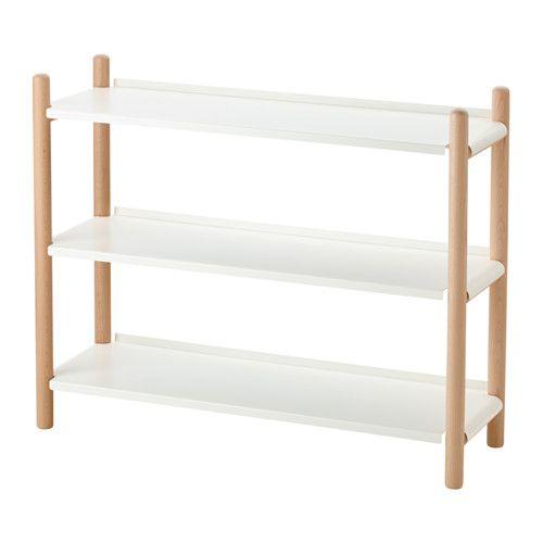 IKEA - IKEA PS 2017, Regal, Durch sein gradliniges und schlichtes Design lässt sich das Regal mit Möbeln in verschiedenen Stilen kombinieren.Eine schmale Leiste auf der Regalrückseite sorgt dafür, dass nichts herunterfällt.3 feste Böden erhöhen die Stabilität des Möbels.
