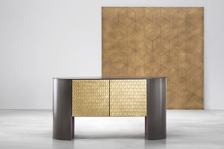 MOSAICO metal cladding cabinet design Nikita Bettoni #mosaic #brass #handmade #lacqueredwood #metal