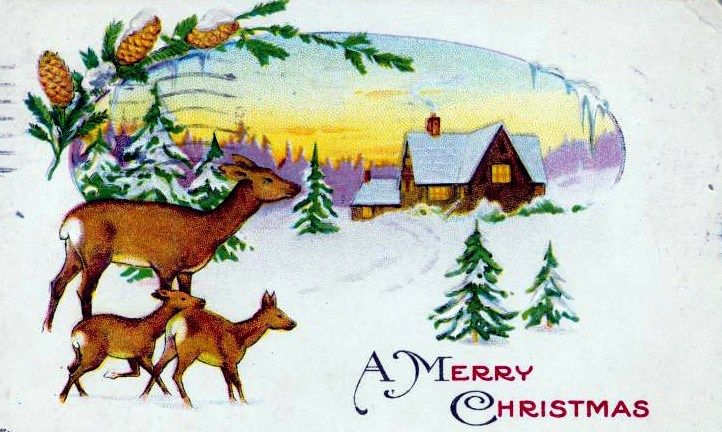 Free Vintage Christmas Cards In The Public Domain Free Vintage Illustrations Vintage Christmas Cards Deer Christmas Cards Vintage Christmas