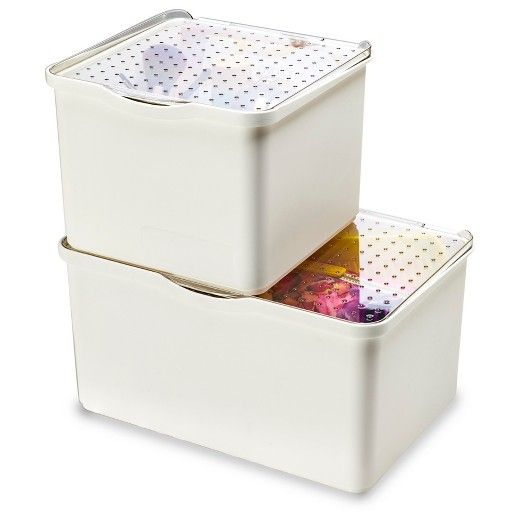 Small Stacking Bin With Lid Clear White Madesmart
