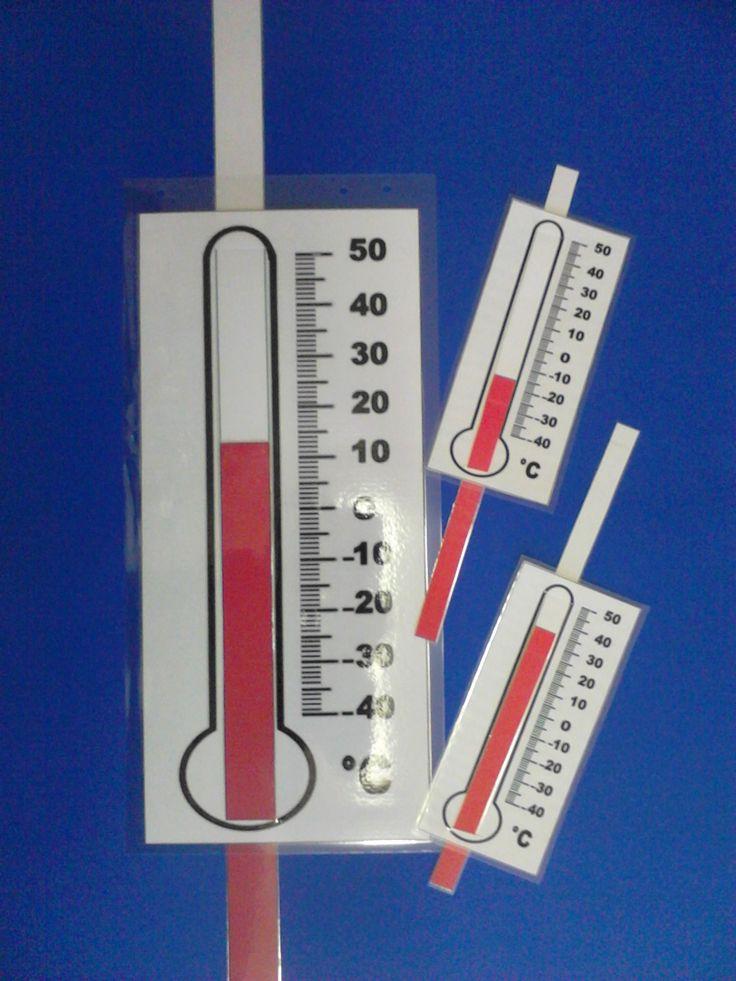 Thermometer met schuifregelaar. Een grote  op A3 voor de leerkracht en allemaal kleinere voor de leerlingen.