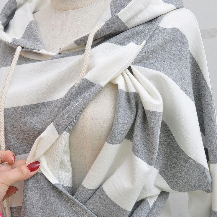 Korean Fashion Maternity Women Hoodies Breastfeeding Pullover Tops Striped Nursing Outwear Pregnant Loose Plus Hooded Sweatshirt