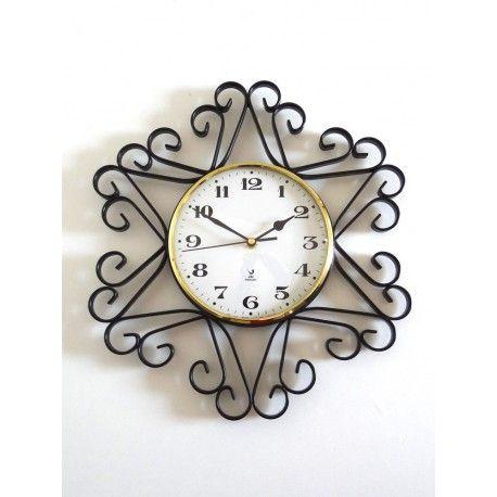Horloge JAZ années 50 en fer forgé #horloge #jaz #50s #vintage #fer #forgé #home #decoration #collectorchic