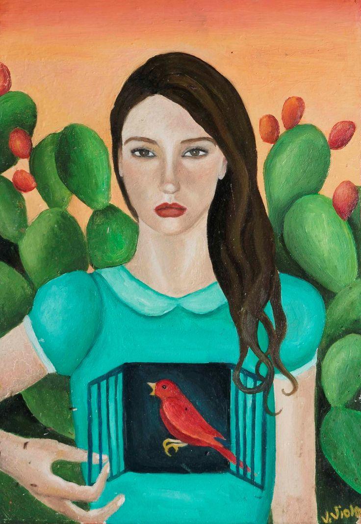 Viola Vistosu, Autoritratto con fichi d'india-Olio su tavola (Oil on wood) 2013