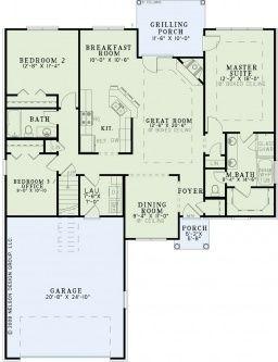 Main Floor Plan - House Plan: NDG 1341 - Mariah    1,591 Sq.Ft.   3 Bed   2 Bath