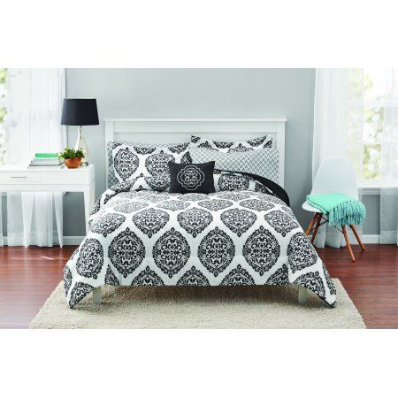Mainstays Global Black White Damask Bed in a Bag Bedding Set