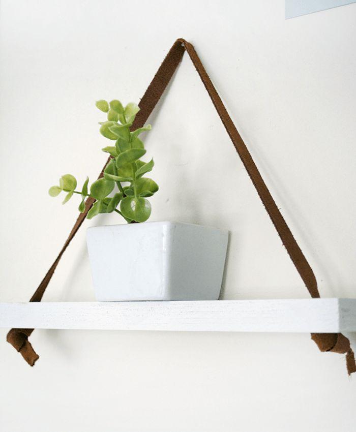 Amazing etagere suspendue blanche corde en cuir lanire - Table ronde rallonge ikea ...