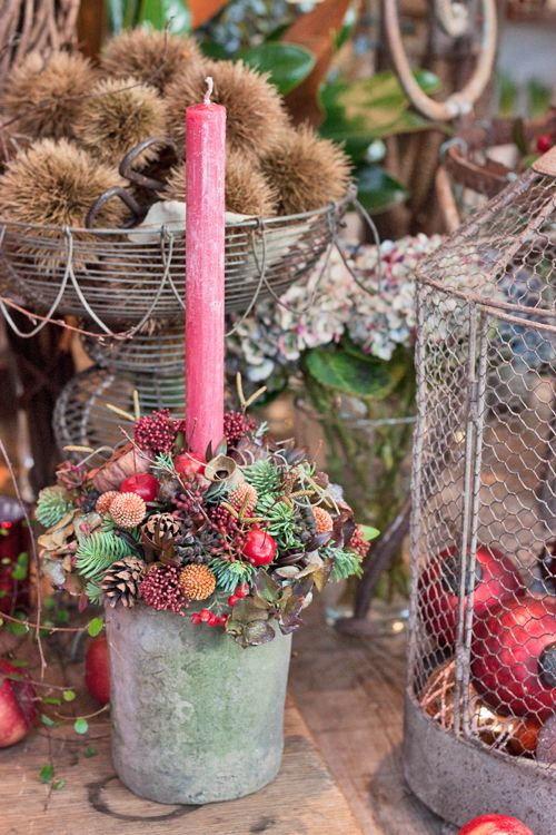 Zita Elze's flower shop in Kew, England - Christmas 2013 - Candle design