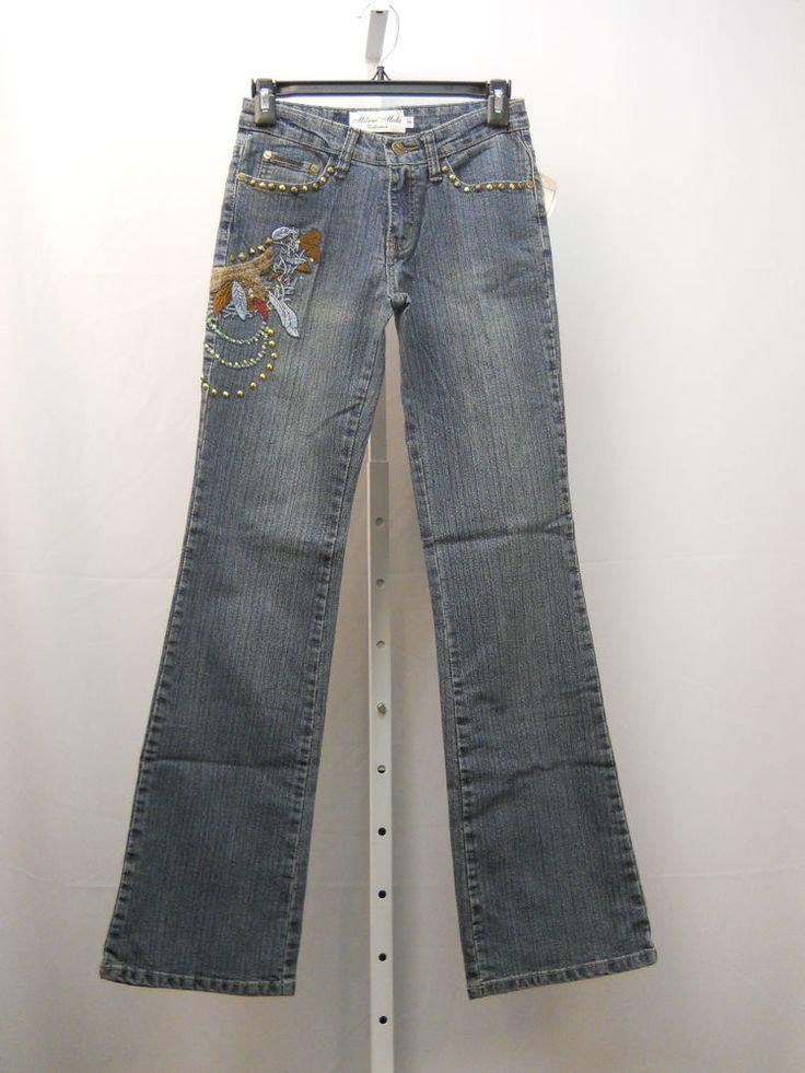 Jeans Size 7/8 Milano Moda Women's Stonewashed Embellished Boot Cut Legs 30X32 #MilanoModa #BootCut