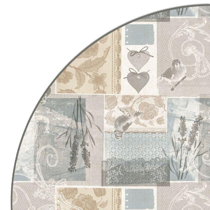 Rond tafelzeil Passaritos Naturel - Rond tafelzeil Passaritos Naturel afgewerkt met bies. Het ronde pvc tafelkleed heeft een doorsnee van 160cm. Makkelijk schoon te houden met vochtige doek. Geschikt voor ronde tafels tot 130/140cm.