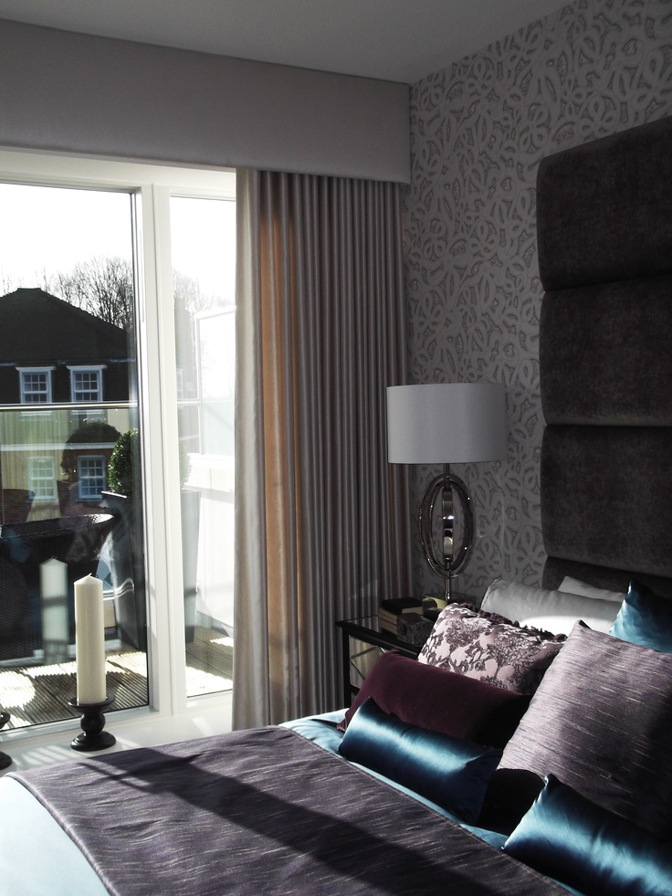 Full Length Silk Curtain with Simple Paddeds Pelmet bedroom