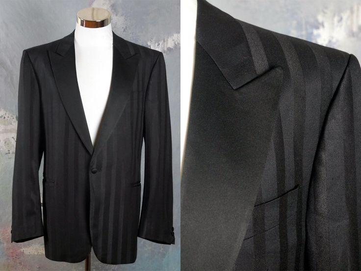 1980s Striped Tuxedo Jacket, Black-on-Black Single-Breasted Black Smoking Jacket w Silk Peak Lapels, Made in West Germany: XL (42 US/UK) by YouLookAmazing on Etsy