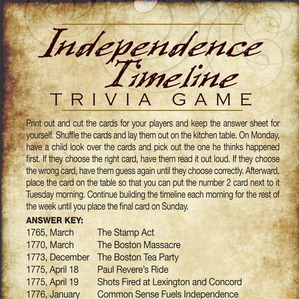 Want to teach your children what and when things happened leading up to the Declaration of Independence? Use iMOM's Independence Trivia Game!