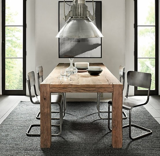 Love the wooden table and metal chairs combo