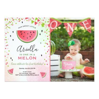 One in a melon Birthday Invitation Watermelon  $2.16  by Anietillustration  - cyo customize personalize diy idea