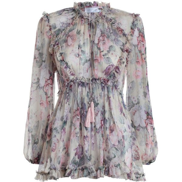 ZIMMERMANN Jasper Floral Ruffle Top ($630) ❤ liked on Polyvore featuring tops, transparent top, flounce swim top, neck-tie, blouson swim top and swim tops