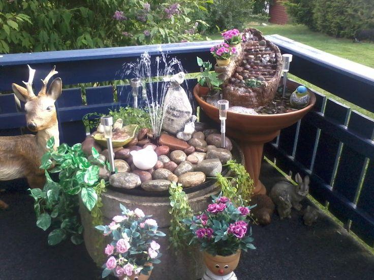 Vannfontener på terrassen.