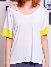 White Yellow Batwing Cut Out Shoulder Short Sleeve T-Shirt