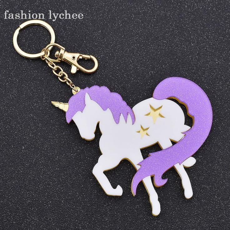 fashion lychee Big Acrylic Unicorn Pendant Key Chain Purple Horse Star Cars Bags Keychain Key Holder Jewelry Accessories