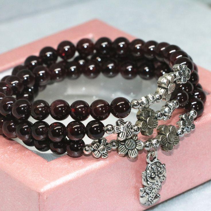 Natural garnet 6mm round beads bangle 3 layers multilayer 2 types bracelet for women pendant elastic beaded bangle jewelry B2100