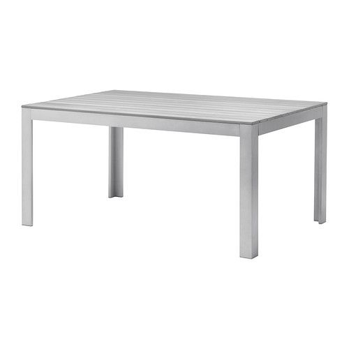 FALSTER Table IKEA Polystyrene slats are weather-resistant and easy to care for. ...build a bright painted bench for one side and blue chairs for other side and ends.