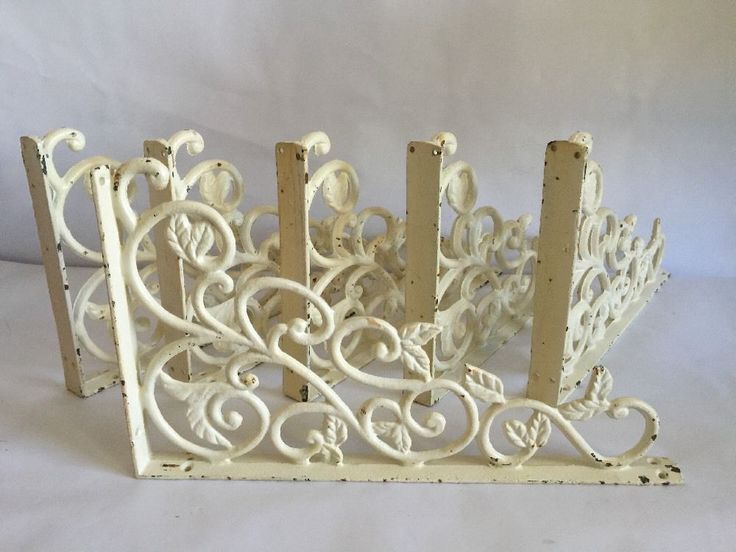 Ornate Vintage Victorian Cast-Iron White Ivory Wall Shelf Bracket 6 #Unknown