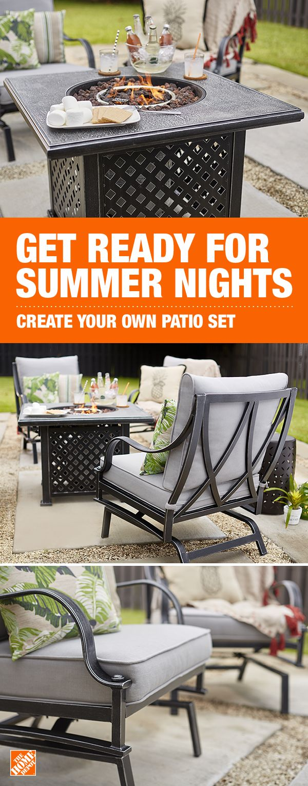 Add comfort, style and a dose of fun to your outdoor lounge area with the Highland Point collection. This 5-piece set, includes a cozy fire pit for the ultimate summer staycation spot right in your backyard. Select the cushion color and fabric of your choice at The Home Depot.