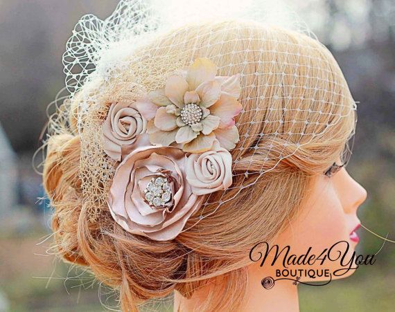 Champagne Birdcage Veil-Gold and Champagne Bridal Fascinator-Wedding Headpiece-Plum and Red Also Available via Etsy