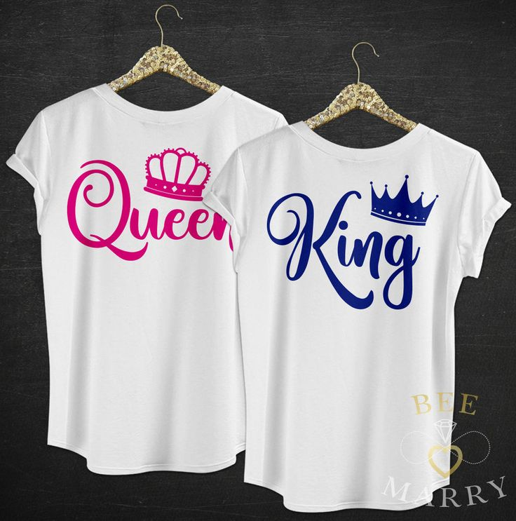 KING T-Shirt QUEEN Top Wedding Gift Her Mr Mrs Matching Couples Pink Blue Crown