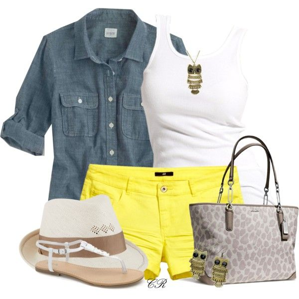 """""""Yellow Shorts"""" by colierollers on Polyvore"""