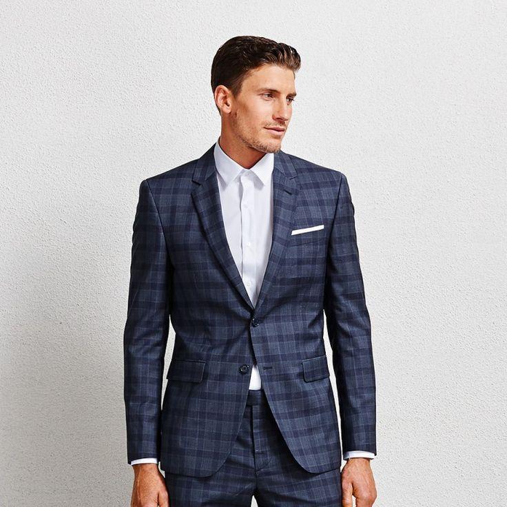 Flemming Slate Blue Check Blazer #suit #bluesuit #bluechecksuit #suitblazer #blueblazer #aquila
