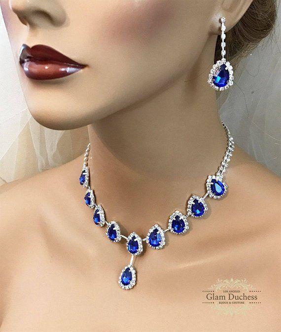 717e92cfeab58 Bridal Jewelry Set Royal Blue Teardrop Crystal Jewelry Set, Crystal ...