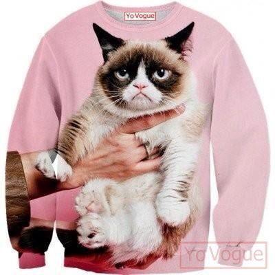 Haut de sweatshirt  Chat grincheux  génial sublimation par YoVogue, $44.95