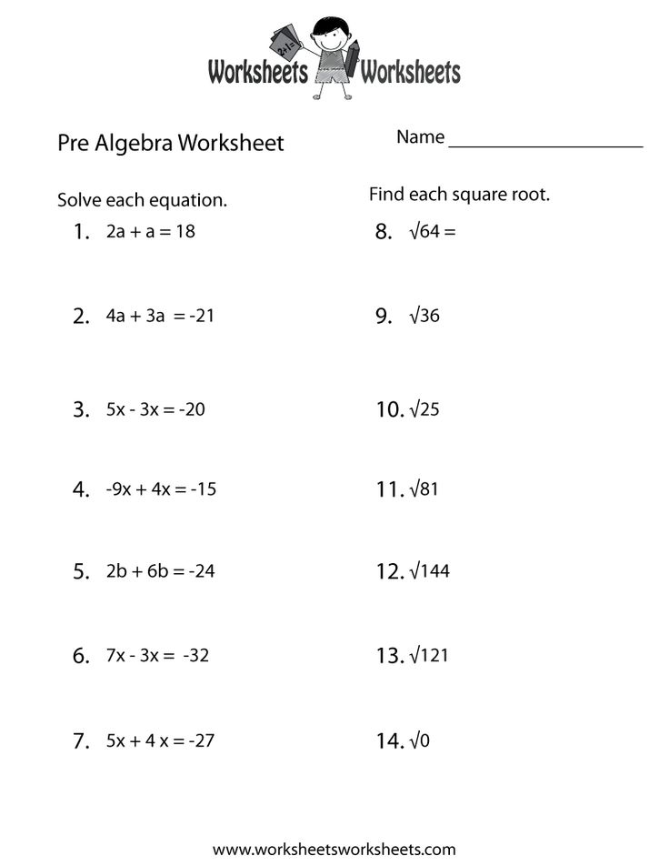 Printables Basic Pre Algebra Worksheets algebra and worksheets on pinterest
