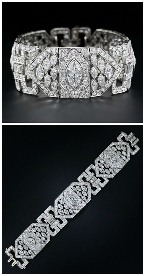 A stunning Art Deco 26 carat diamond and platinum bracelet. Via Diamonds in the …