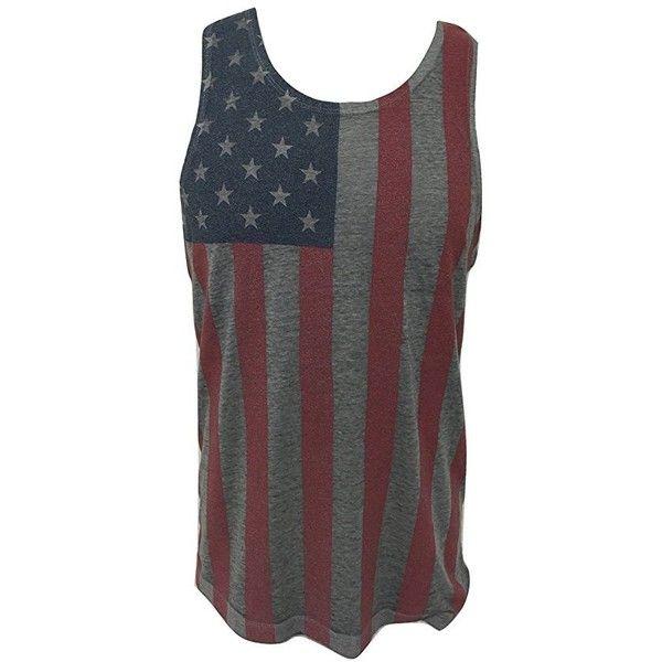 417908efbc1500 Mens 4th of July American Flag Vintage Gray Summer Tank Top Muscle... (