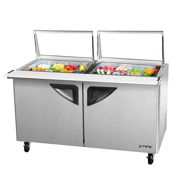 """Turbo Air TST-60SD-24-GL Super Deluxe 60 1/4"""" 2 Door Mega Top Refrigerated Sandwich Prep Table with Glass Lids"""