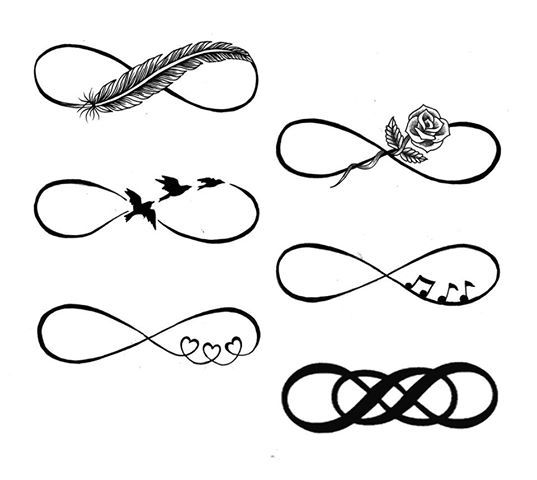 Infinity tattoos! really like the rose one for my rep my mother and the three little hearts to rep my children and husband! really thinking of getting one of them!