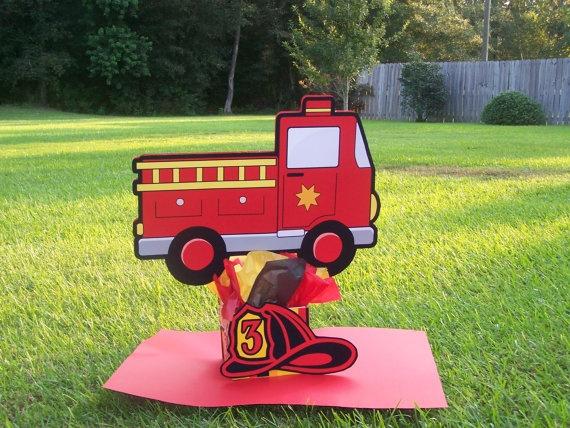 Fire truck centerpiece birthday ideas pinterest