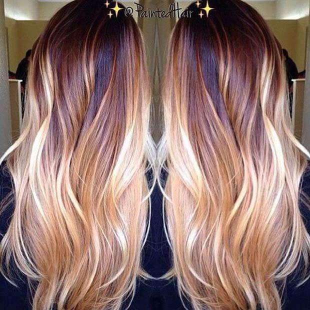 Copper & Blonde Balayage on Long Hair