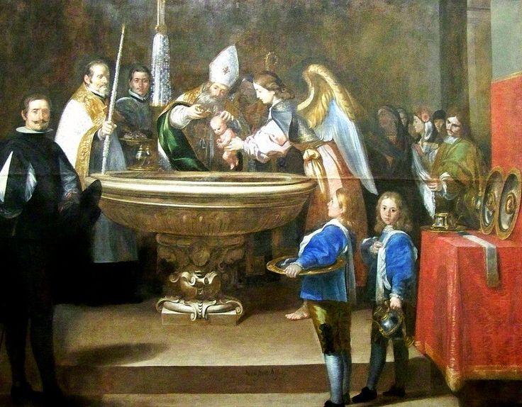 Antonio del Castillo Saavedra, Le baptême de Saint François d'Assise  195 x 242 cm.  1663 - 1665,  Convent franciscain de San Pedro el Real.  Musée des Beaux Arts, Cordoue