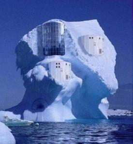 A house apparently built on an ice berg.